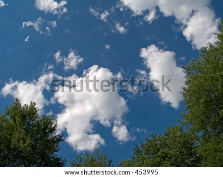 This is a view of the sky from a raft on my swimming pool.