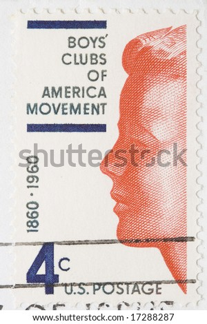 This is a Vintage 1960 Canceled US Postage Stamp Boys Club of America