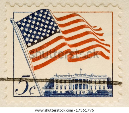 This is a Vintage 1962 Canceled US Stamp Flag and whitehouse