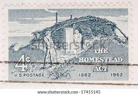 This is a Vintage 1962 Canceled US Stamp Homestead Act