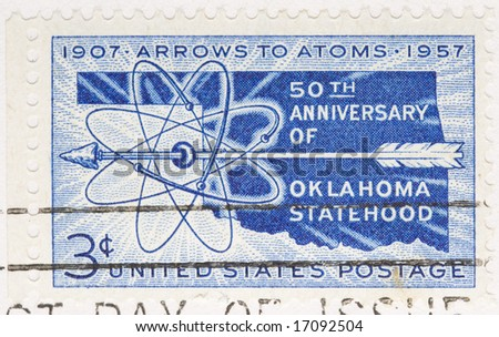 This is a Vintage 1956 canceled US stamp Oklahoma Statehood