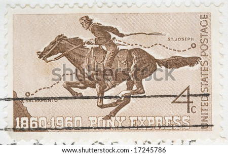This is a Vintage 1960 canceled US stamp Pony Express