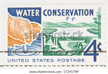 this is a Vintage 1960 canceled US stamp Water conservation