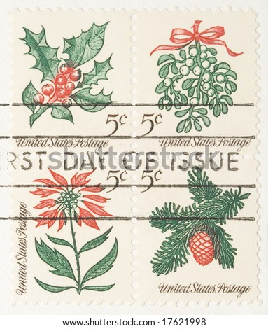 This is a Vintage 1966 Stamp Christmas Plantsespeare