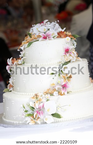 stock photo This is a white wedding cake with what appears to be real