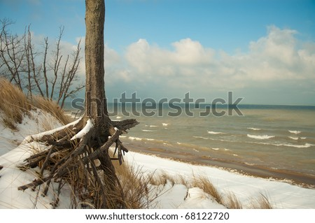 This is a winter scene on top of Mount Baldy in the Indiana Dunes National Lakeshore. Mt. Baldy, the giant sand dune, is moving at an alarming rate away from the lakeshore and towards the main highway
