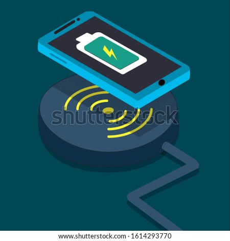 this is a wireless charger icon blue color phone and wirelessly charge