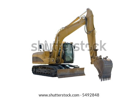 This is a yellow excavator ready to start digging, Isolated on a white background.