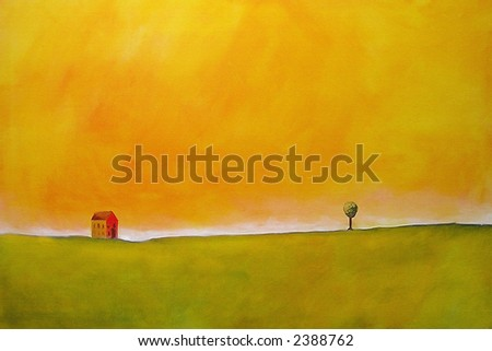 this is an abstract painting of a farm scene