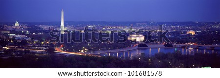 This is an aerial view of Washington, DC with the Jefferson Memorial, U.S. Capitol, Washington Monument, and Lincoln Memorial.