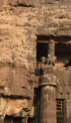 This is an ancient Indian structure and sculpture made in the rock 2000 years back near Pune district India karala caves