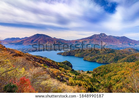 This is an autumn landscape at Lake Nojiri in Nagano prefecture, Japan. Foto stock ©