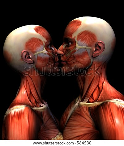 This is an computer generated image of a skinless couple kissing.