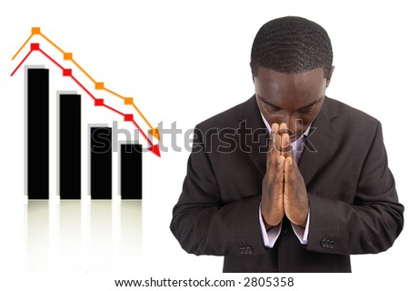 "This is an image a businessman conducting a prayer for prosperity. This image can be used to represent ""Prosperity Change Prayer"" and ""Financial Breakthrough"" themes."