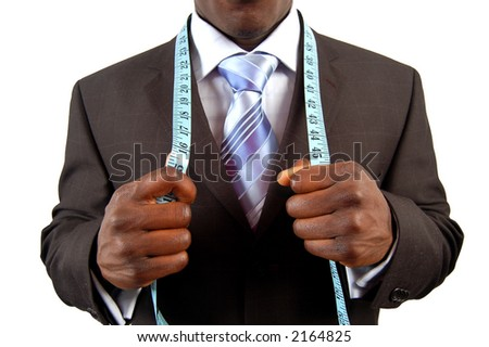 This is an image of a black business man, wearing measuring tape.