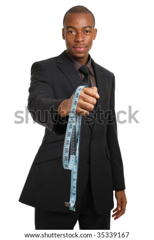 This is an image of a business man offering a measuring tape.