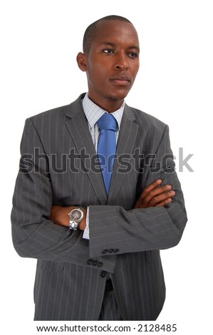 This is an image of a business man reflecting. Arms are crossed to emphasize seriousness. Outlook