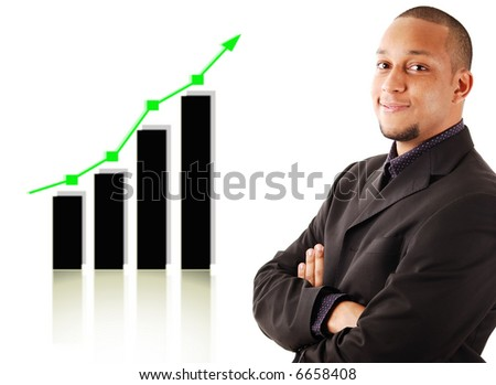 This is an image of a businessman smiling due to a rise in profits, symbolised by the graph behind him.