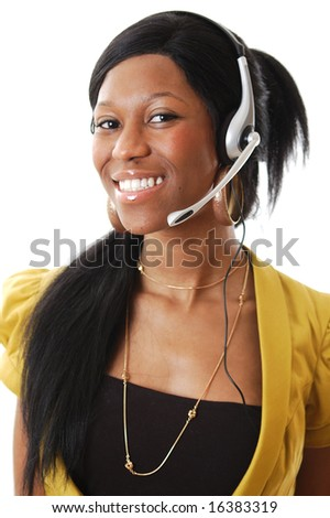 This is an image of a female call operator. This image can be used for telecommunication and service themes.
