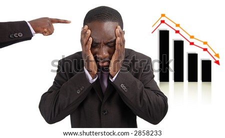 """This is an image of a man deeply depressed due to a drop in the graph. This image can be used to represent """"Stock losses"""", """"Wrong Investment"""" etc.."""