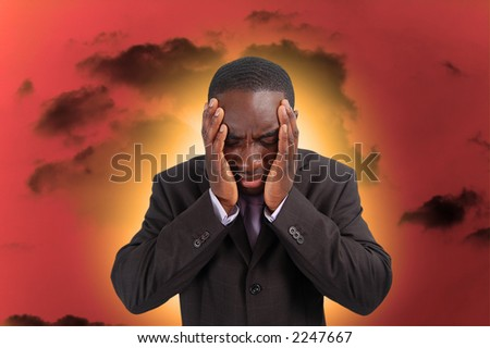 This is an image of a man feeling the heat and pressure, from everyday business.