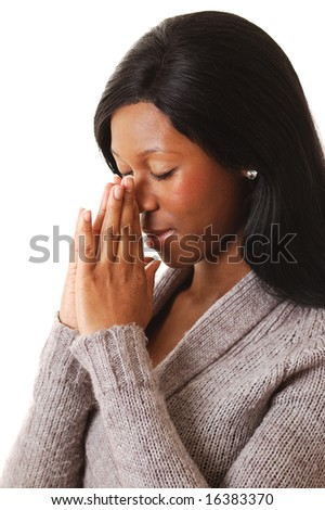 This is an image of a woman in deep prayers