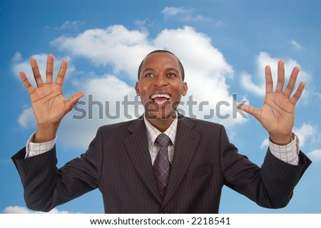 "This is an image of an over excited businessman and is in a state of ""Cloud 9"""
