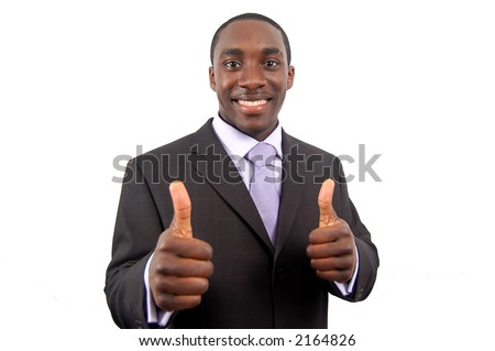 This is an image of business, happily giving the thumbs up. This represents great work, you got the job and your the best. - stock photo