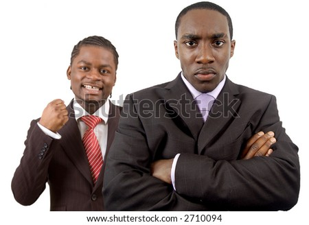 This is an image of two businessmen one is angry and the other is happy. This image can be used to represnt \