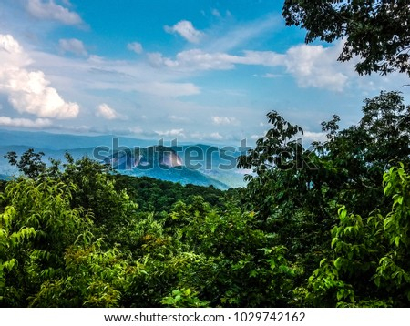 This is an image taken from the Blue Ridge Parkway, which spans from the mountains of Virginia through North Carolina to the border of the Great Smoky Mountains National Park.