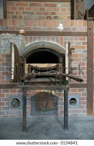 This is an oven in the crematorium at the Dachau concentration camp in Germany.