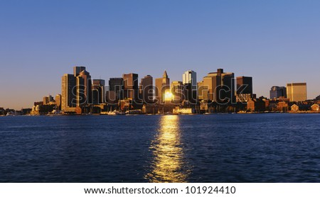 This is Boston's skyline with the waterfront in view in morning light.