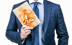 this is for you. occasion greeting. businessman showing gift box. corporate present. womens day. successful ceo holding giftbox. cropped man prepare for romance date. man with business reward.
