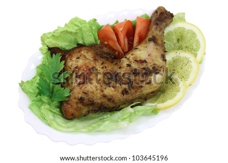 this is fried chicken quarter, marinated with spices