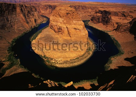 This is Horse Shoe Bend and the Colorado River. It is the morning view.