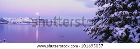 This is Lake Tahoe after a winter snow storm. There is a full moon rising over the lake and the trees and mountains are covered in snow.