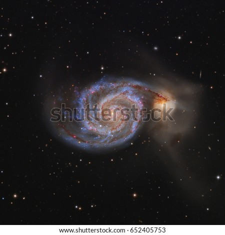 This is M51, also known as the Whirlpool Galaxy. It is a spiral galaxy about 23 million light years away in the constellation Canes Venatici. It is merging with its neighbor NGC5195.