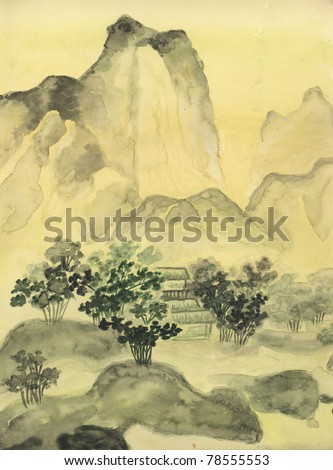 This is my own painting, hand drawn in traditions of ancient Chinese painting, watercolours.
