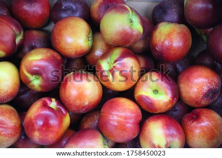 This is Nectarin representing summer fruits. It's a kind of peach. It's red-cooked and tastes good.English is called Nectarin and commonly called 'Shaved Peach', sametimes called 'Brazilian also calle