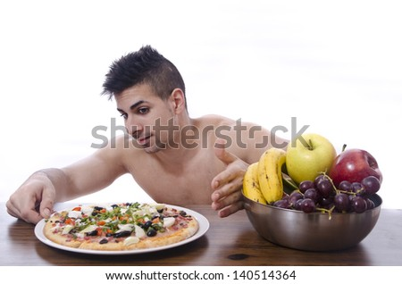 This is not the correct way. A man skiping his diet.