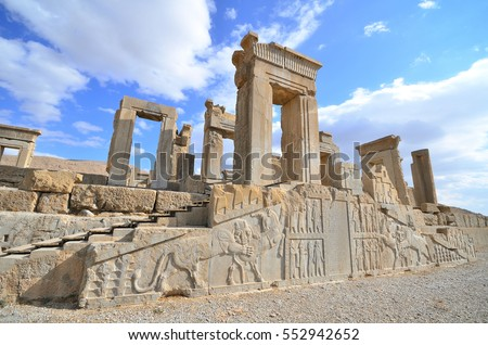 This is Persepolis ancient city with beautiful and blue sky , famous place to visit ,one of world heritage site , UNESCO in Shiraz , Iran