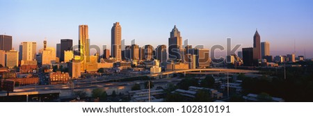 This is the Atlanta skyline at sunset.