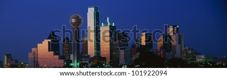 This is the Dallas skyline at dusk.