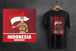 This is the design of Black T-Shirt for Indonesian Independence day 76