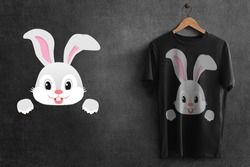 This is the design of Black T-Shirt with cute rabbit illustration on it