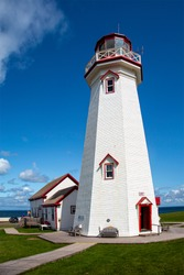 This is the east point lighthouse on PEI in the afternoon