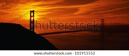 This is the Golden Gate Bridge in San Francisco at sunrise.