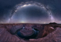 This is the Horseshoe Bend panoramic view with fineart milky way