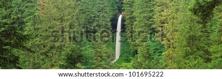 This is the Northern Falls. It has a 136 Foot single cascade. It is located in Silver Falls State Park.