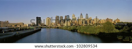 This is the Philadelphia skyline from the Schuylkill River at sunset.